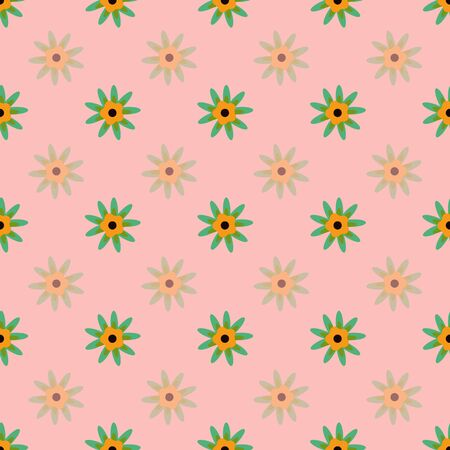 Marigold Floral on Peach Floral Folk Collection Repeat Pattern Vector
