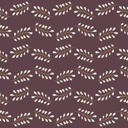 Horizontal Botanical Pattern on Burnt Heather Repeat Pattern Vector Print