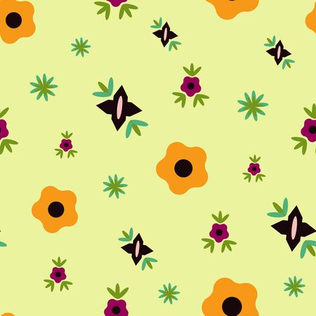Soft Green Floral Folk Collection Repeat Pattern Vector