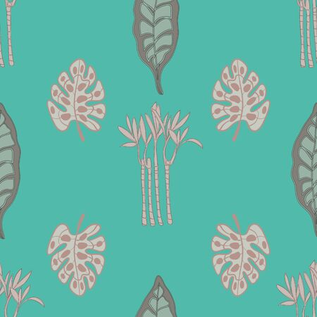 Peach and Green Palm Print Seamless Repeat Pattern Vector. A perfect palm print for any surface.
