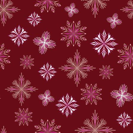 Deep Garnet Snowflake Seamless Repeat Pattern Vector Print. Illustration