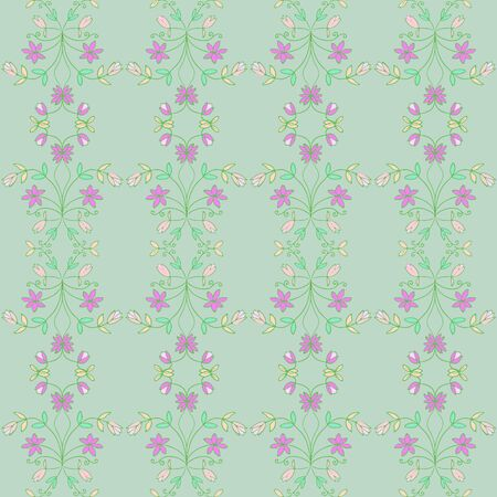 Spring Green Floral Vine Repeat Pattern Vector Print Ilustracja