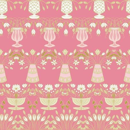 Garden Floral n Gold Green and Carnation Repeat Seamless Pattern Vector Print.