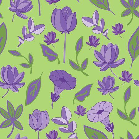Lavender and Lilac Petals Repeat Vector Print.