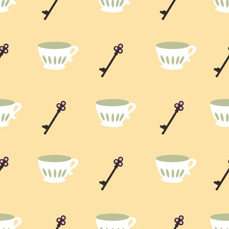 Cup of Tea at Home Repeat Pattern Vector Print. 向量圖像