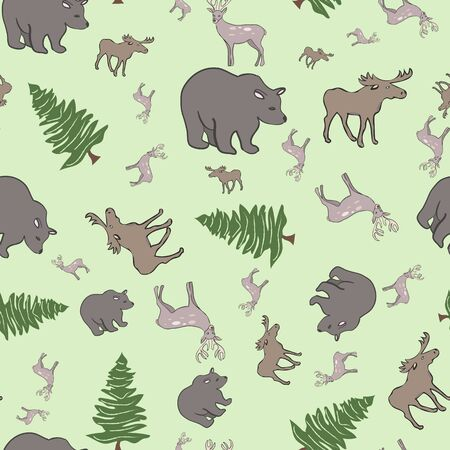 Moose and Deer and Bears oh my Collection Repeat Pattern Vector 向量圖像