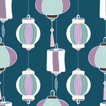 Large Lanterns Repeat Pattern Seamless Vector Print Imagens - 137760454