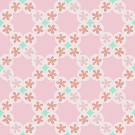 Penny Copper Mosaic Lattice Pattern Seamless Repeat Vector Print