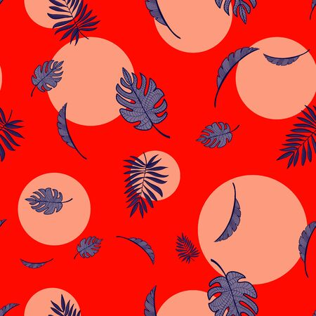 Sunset Red Palm Pattern Repeat Seamless Vector Print.