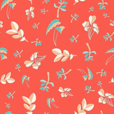Rich Orange and Turquoise Botanical Garden Repeat Pattern Seamless Vector Print