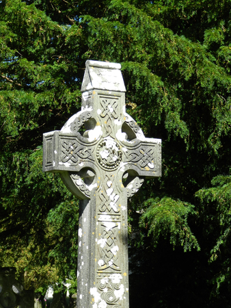 Celtic cross surrounded by evergreen trees at Glendalough Monastic site