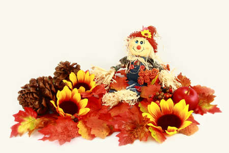 Autumn Scarecrow Series Leaves, Sunflowers, And Pinecones