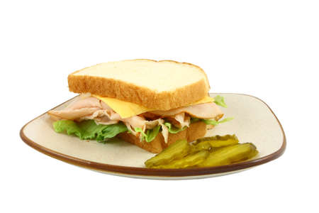Turkey Lettuce And Cheese Sandwich Stock Photo