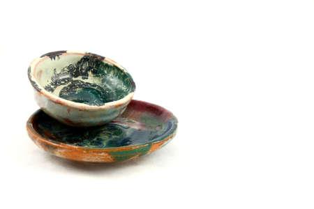 ollas de barro: Dos vasijas de arcilla a mano
