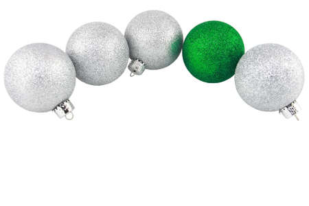 Silver And Green Glitter Christmas Ornaments
