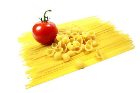 Fresh Tomato with Spaghetti Noodles and Shell Pasta Stock Photo