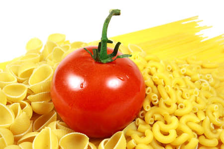Tomato with Assorted Pastas Close-up
