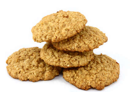Five Oatmeal Cookies on White