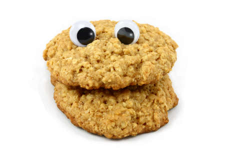 Oatmeal Cookie Face with Wiggly Eyes Stock Photo - 8811574