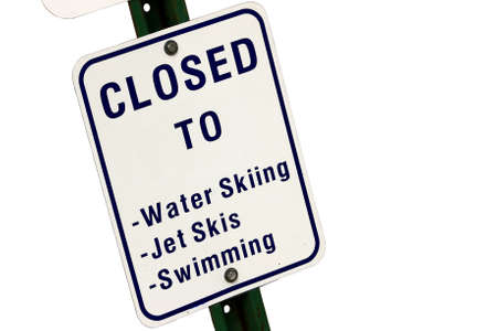 Closed To Water Sports Sign Isolated On White Stock Photo - 9364995