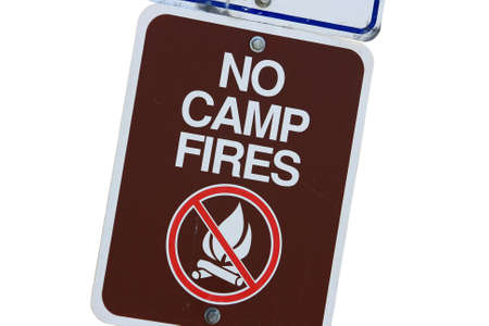 no fires: Brown No Camp Fires Sign Isolated On White