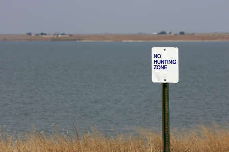 No Hunting Zone Sign Near Lake