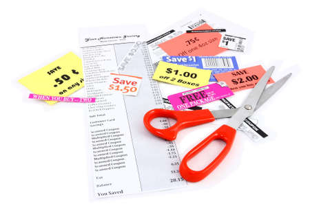 Coupon Clipping Grocery Coupons And Scissors On White Stock Photo - 9404275
