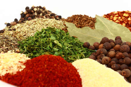 Dried Herbs And Spices Close Up Stock Photo