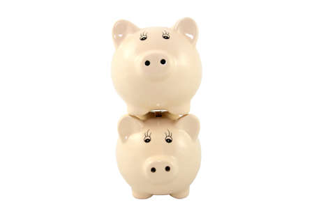 Stacked Piggy Banks Series - Traditional Stock Photo