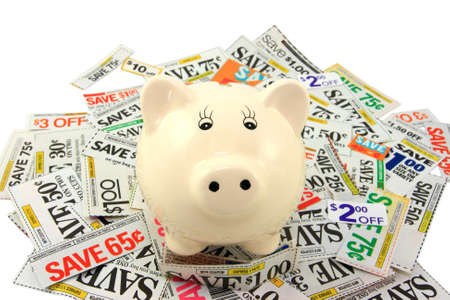 thrifty: Piggy Bank Standing On Grocery Coupons  Stock Photo