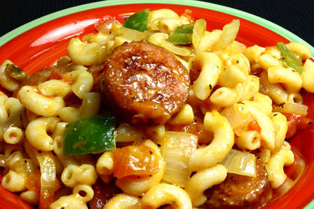 Cheesy Sausage Macaroni Dish Stock Photo