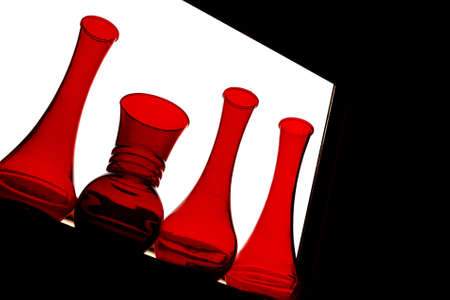 Four Red Vases Stock Photo