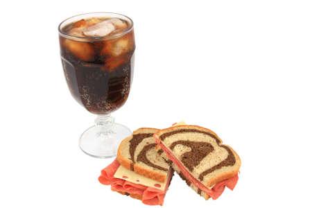 Corned Beef And Swiss Sandwich On Swirl Rye Bread