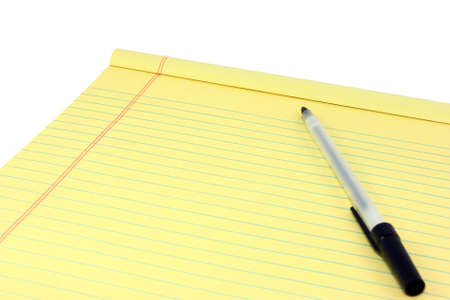 note pad and pen: Yellow Legal Pad And Pen Stock Photo