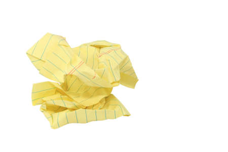 Crumpled Yellow Legal Paper Frustration Concept photo