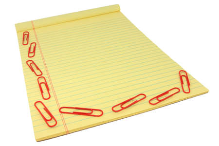 legal pad: Yellow Legal Pad With Red Paper Clips
