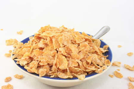 Cereal Flakes In A Breakfast Bowl Stock Photo