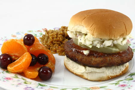 Asian Inspired Turkey Burger With Fruit And Rice