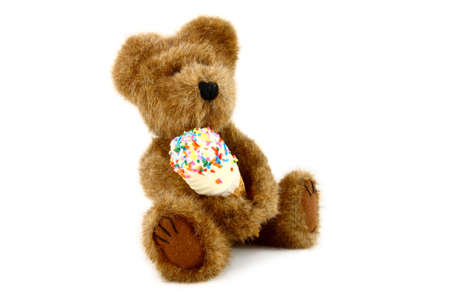Teddy Bear With Ice Cream Cone Stock Photo