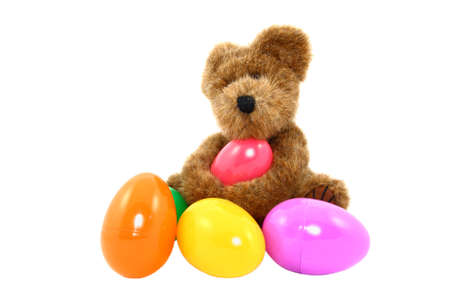 Teddy Bear With Colorful Easter Eggs Stock Photo