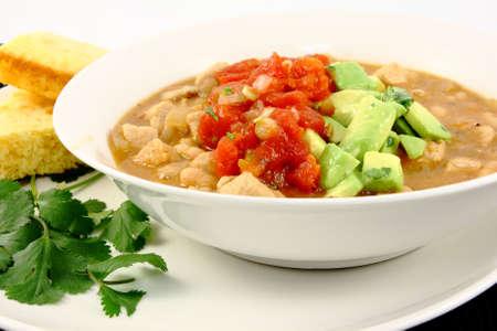 Pork   White Bean Chili Topped with Salsa   Avocado