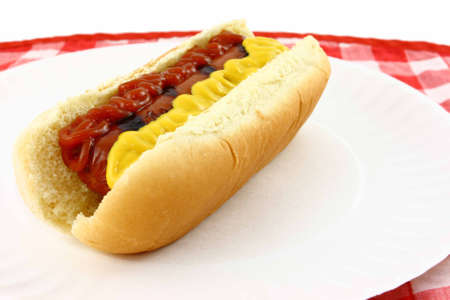 close up food: Grilled Hot Dog With Mustard And Ketchup