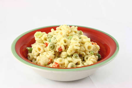Colorful Bowl Of Old Fashioned Macaroni Salad