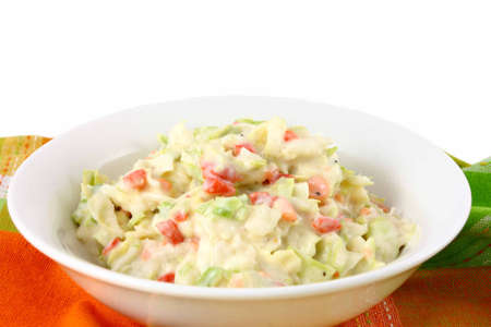 Summer Coleslaw Salad In A White Bowl Stock Photo