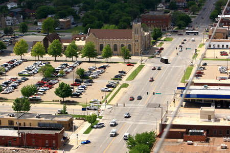 A View From Above A City Street Stock Photo