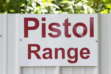 Pistol Range Sign At Outdoor Shooting Range