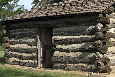 Restored Log Cabin Stock Photo