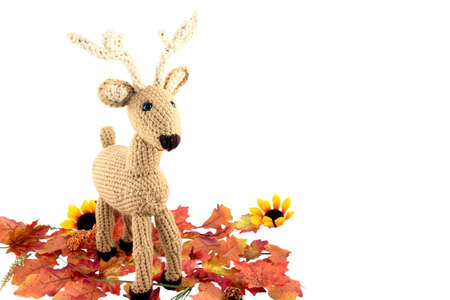 Crocheted Deer With Autumn Leaves