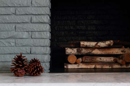Winter Detail Of Painted Fireplace