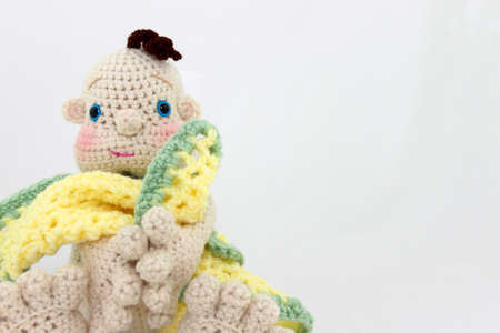playthings: Crocheted Doll With Blanket Stock Photo